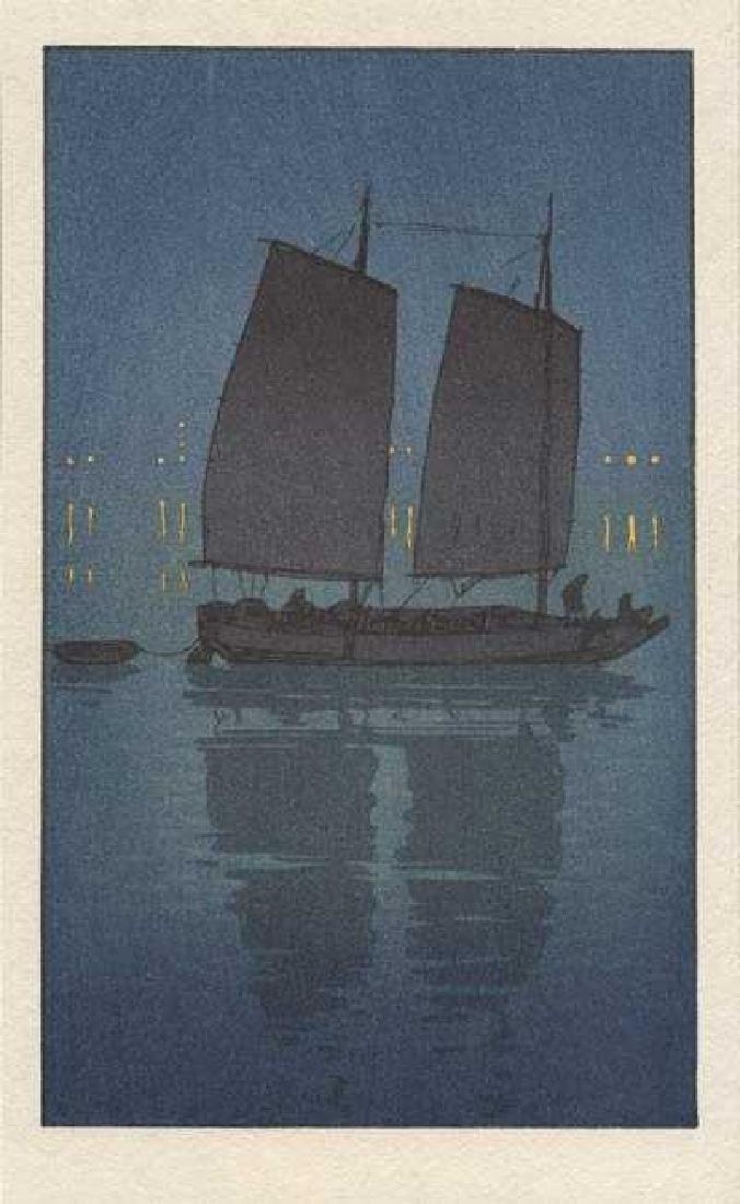 Hiroshi Yoshida, After Woodblock Sailing Boat Night