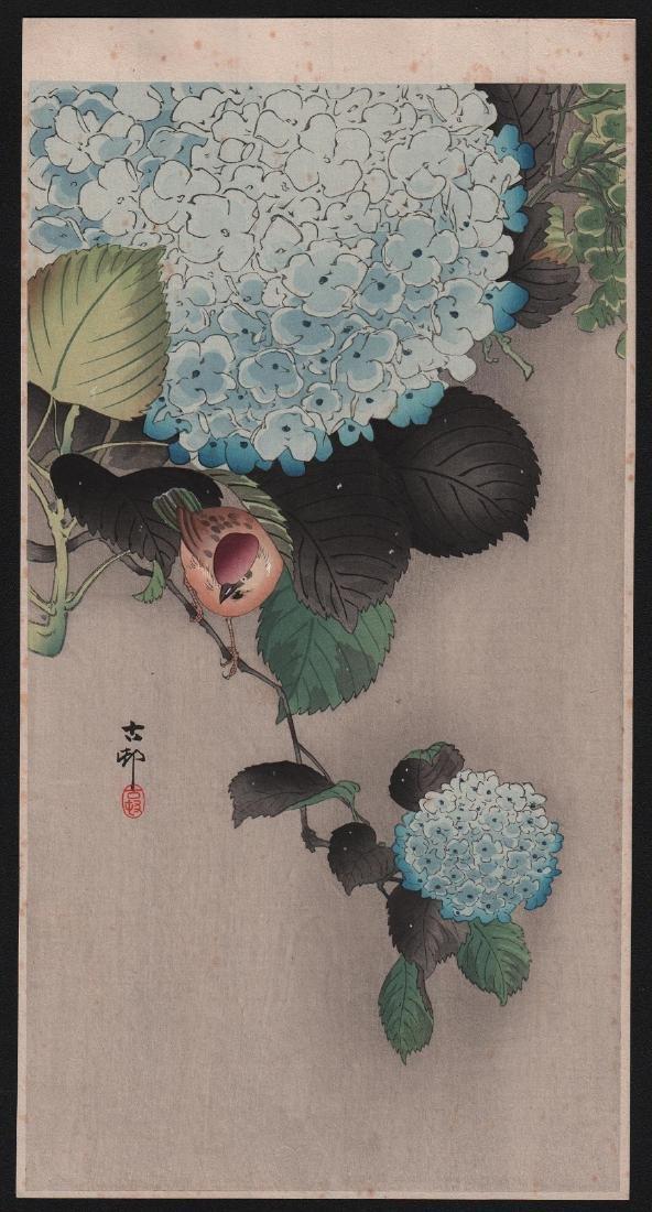Ohara Koson Woodblock Sparrow on Hydranga