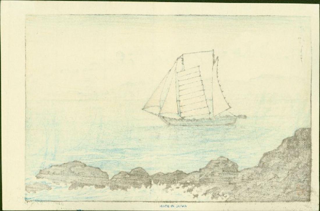 Kawase Hasui Japanese Woodblock Print Sailboat Yashima - 2