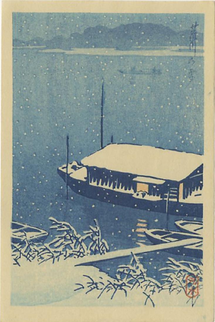 Hasui Kawase Woodblock Snow at Arakawa River
