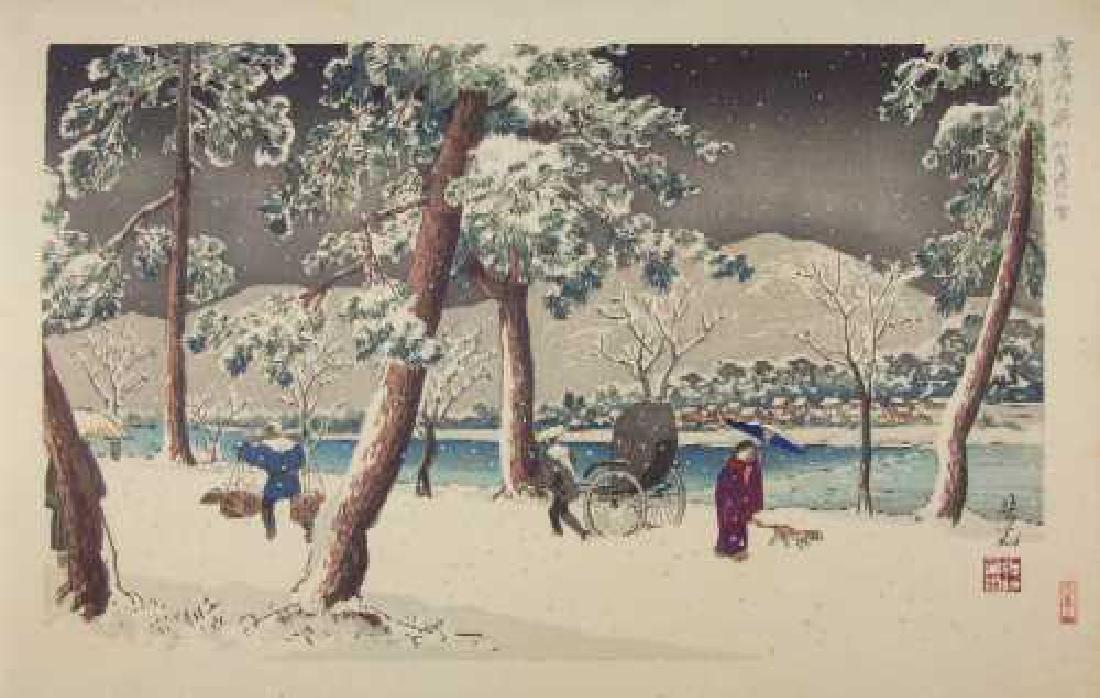 Yoshimitsu Nomura Woodblock Snow on Banks of Kamo River