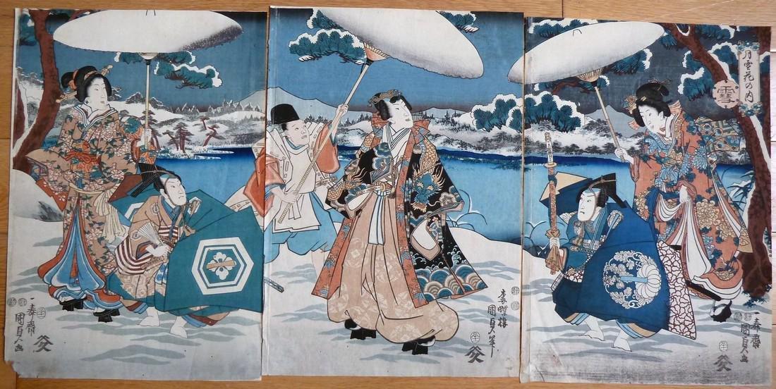 Utagawa Kunisada Toyokuni III Woodblock Snow
