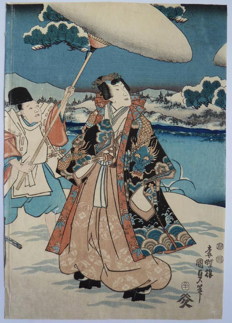 Utagawa Kunisada Toyokuni III Woodblock Snow - 3