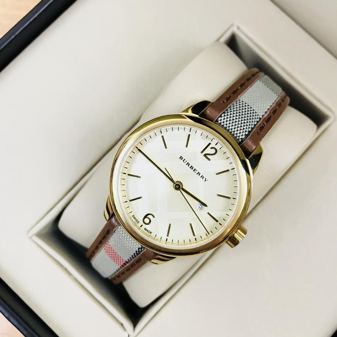 Burberry Swiss Made Gold Plated Classic Round Ladies