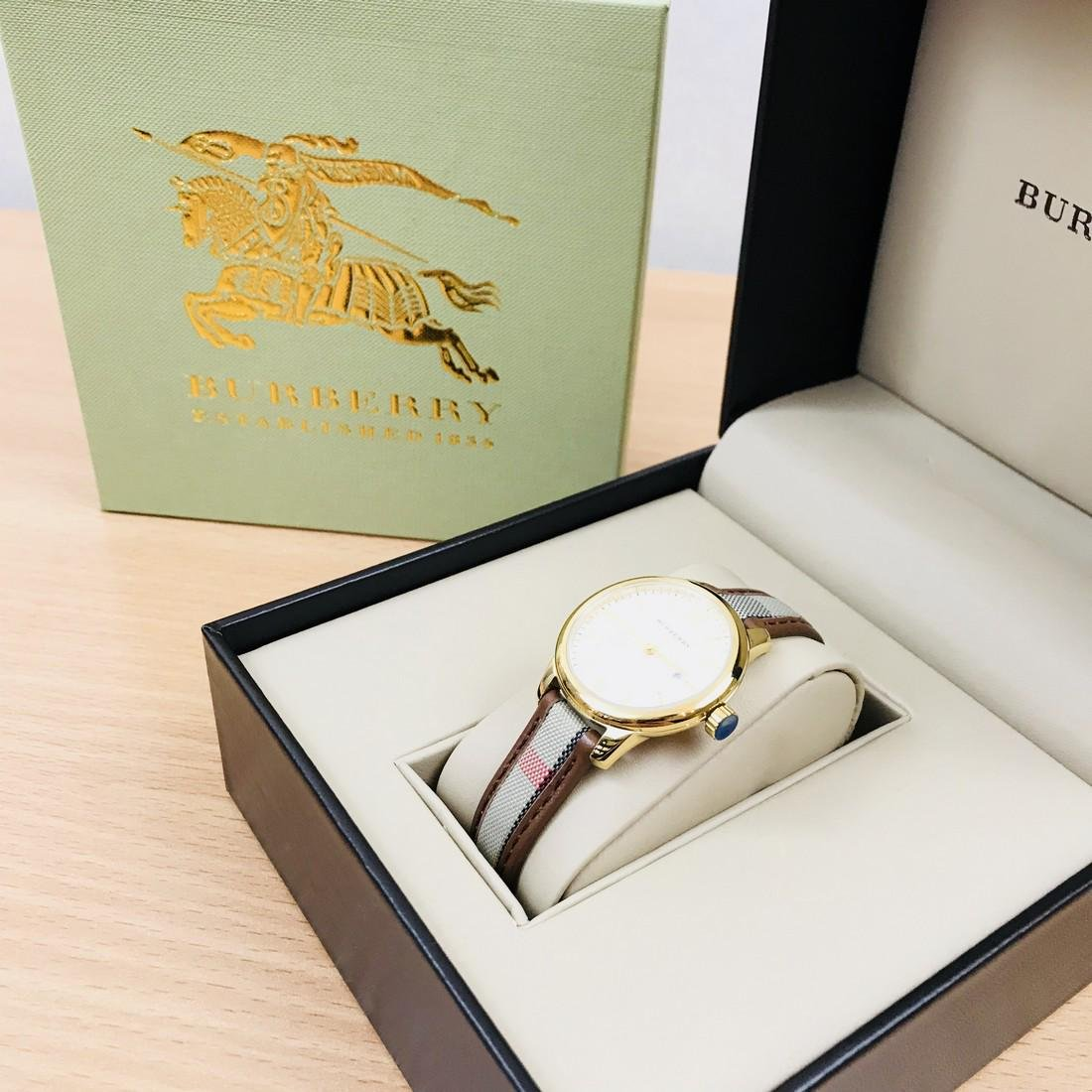 Burberry Swiss Made Gold Plated Classic Round Ladies - 2