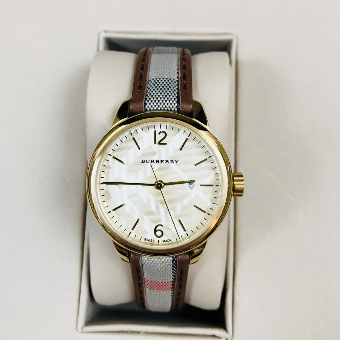 Burberry Swiss Made Gold Plated Classic Round Ladies - 3