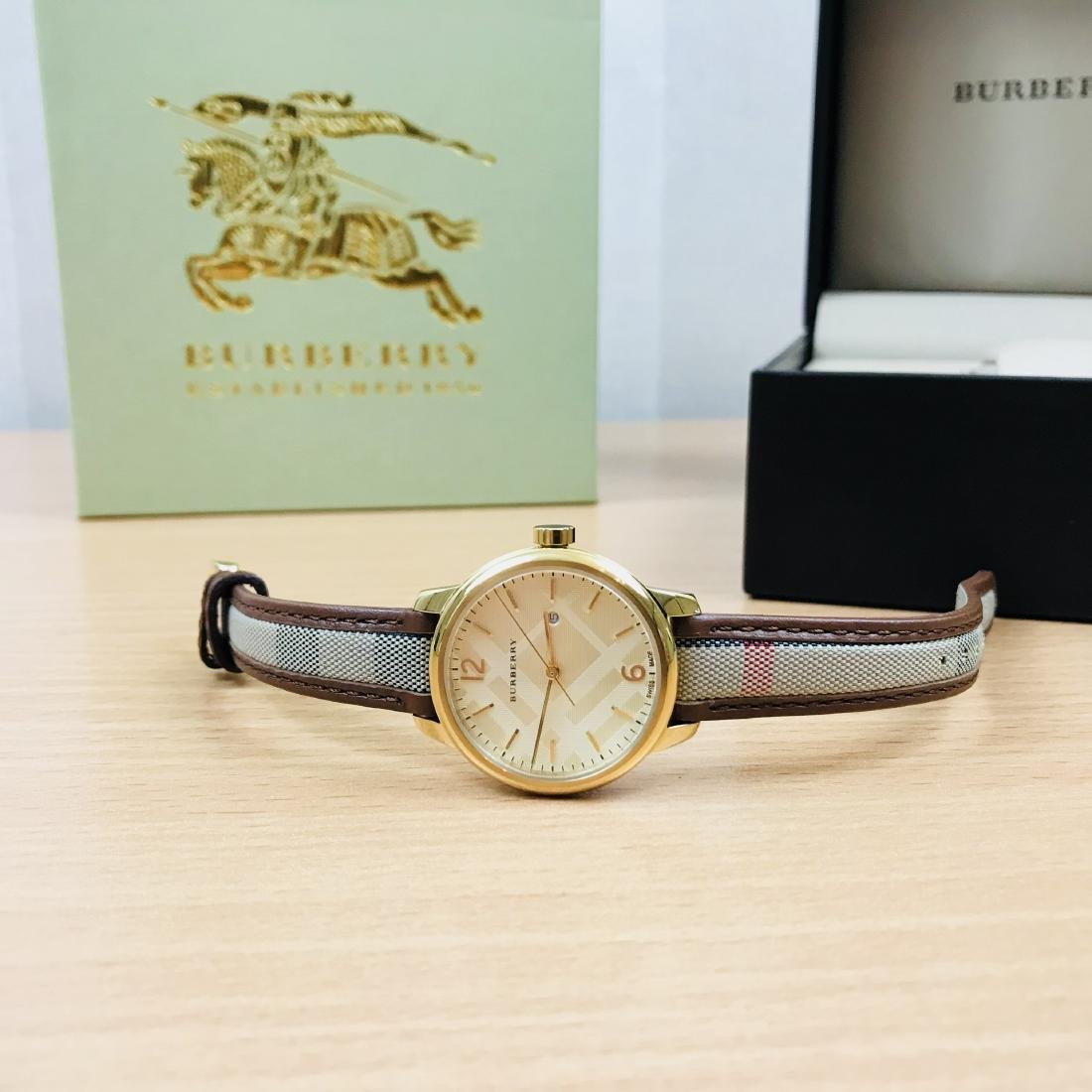 Burberry Swiss Made Gold Plated Classic Round Ladies - 9