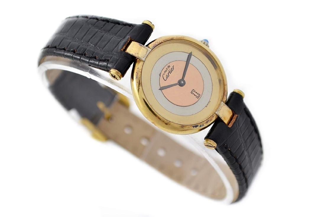 Vintage Cartier Vermeil 92.5 Gold Plated Quartz Ladies - 3