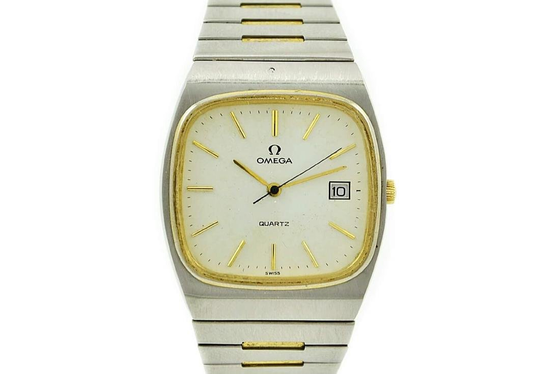 Vintage Omega Quartz Stainless Steel Two Tone Mens