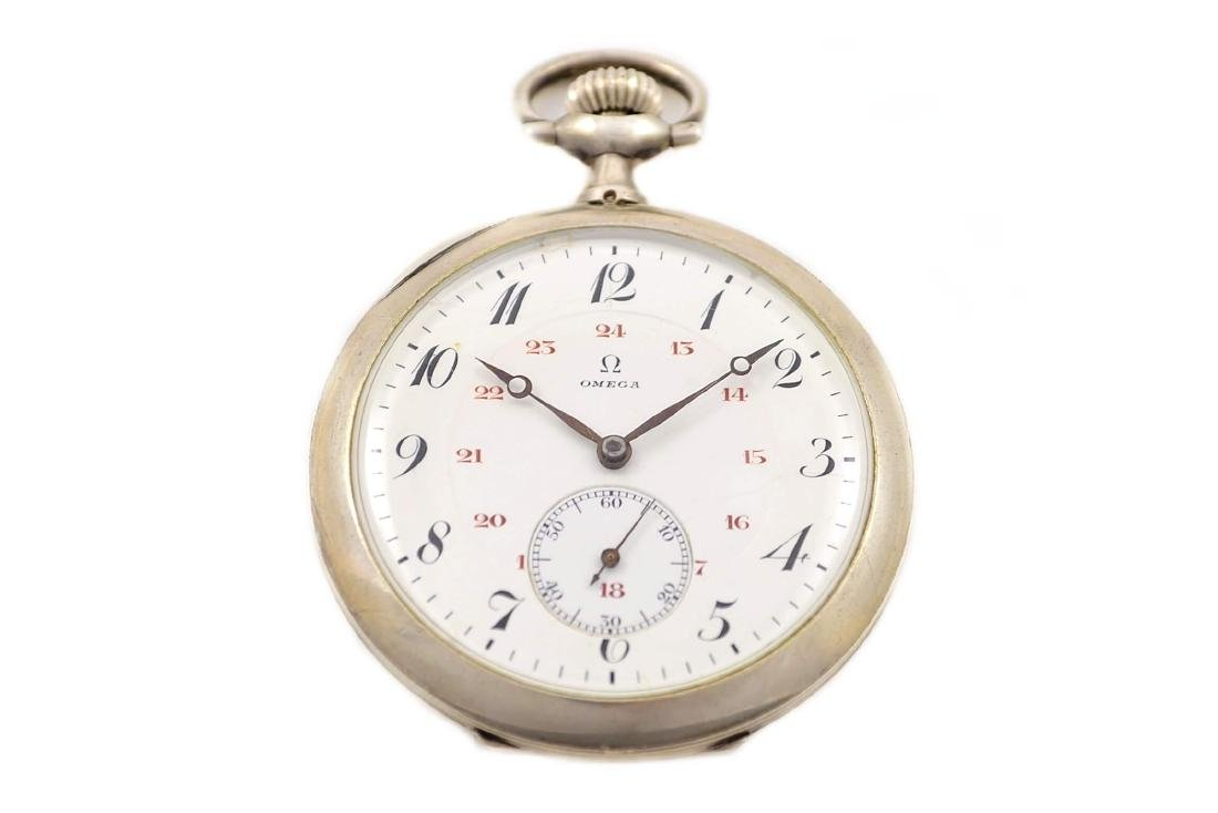Vintage Omega Stainless Steel Hand Wind Pocket Watch