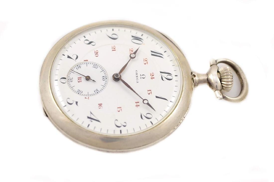 Vintage Omega Stainless Steel Hand Wind Pocket Watch - 5