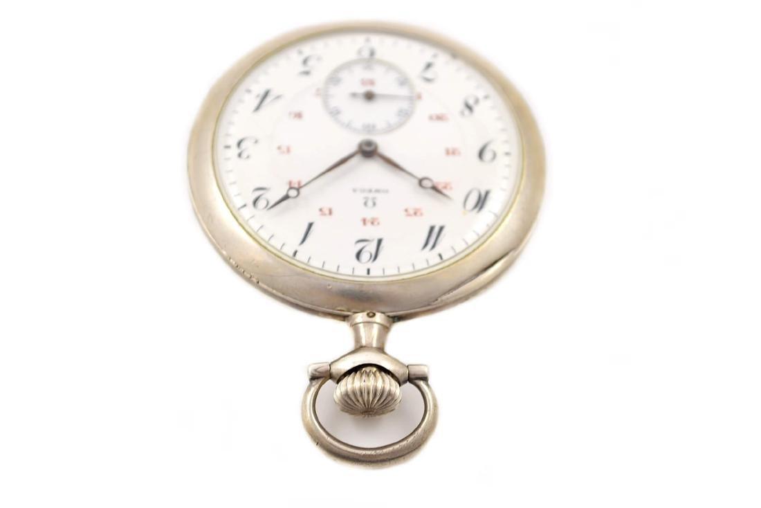 Vintage Omega Stainless Steel Hand Wind Pocket Watch - 6