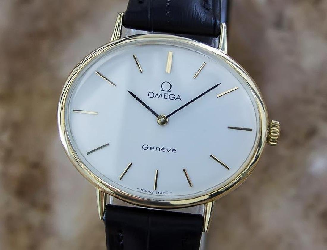 Omega Geneve Swiss Made 1970s Unisex Rare Gold Plated