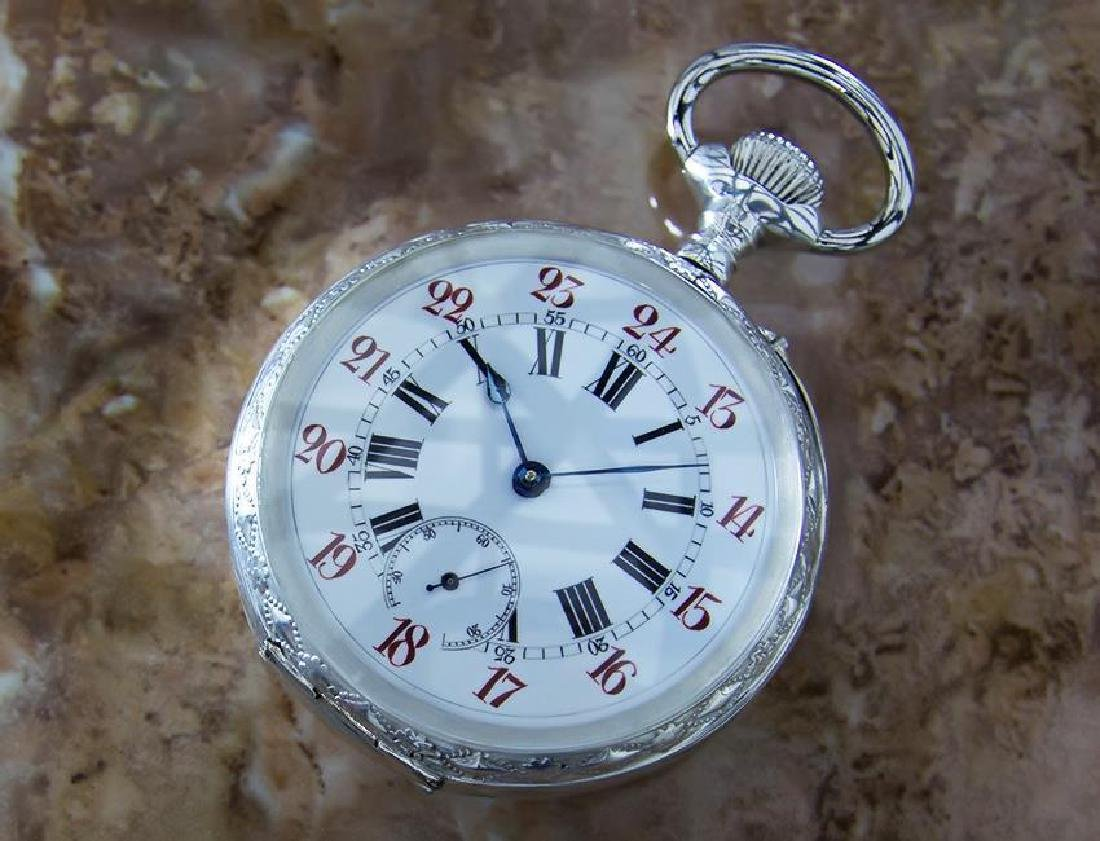 Pocket Watch 61mm Sterling Silver 925 Swiss Made Manual