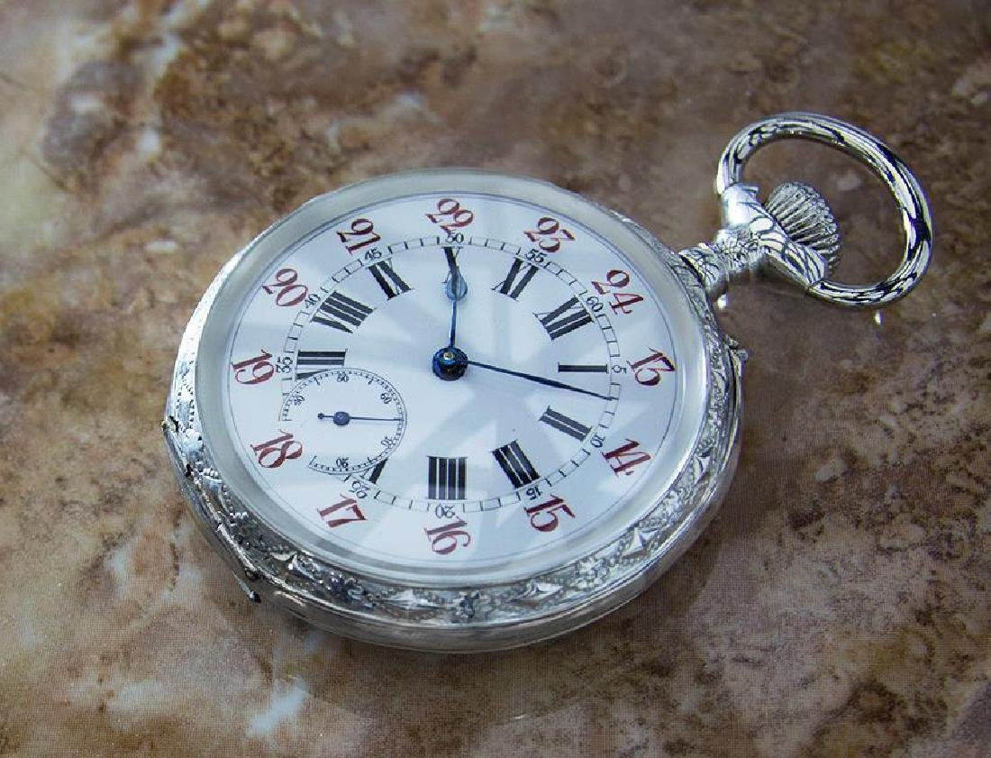 Pocket Watch 61mm Sterling Silver 925 Swiss Made Manual - 3