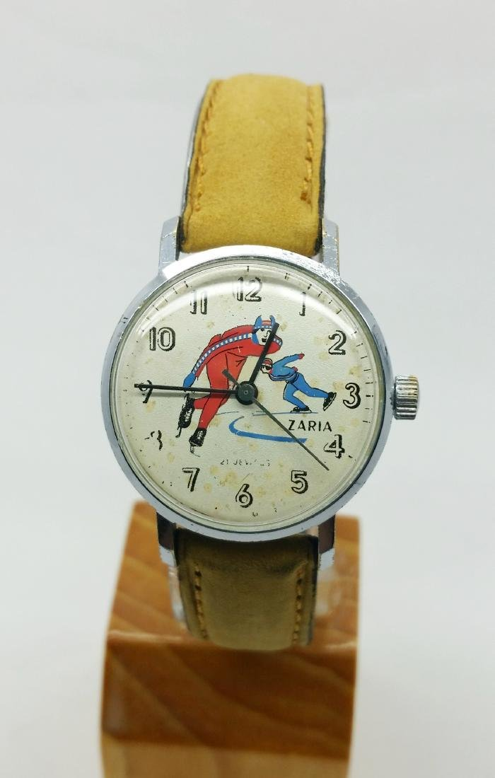 ZARiA Skiing figured dial ladies vintage wristwatch -
