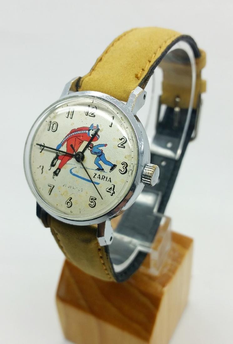 ZARiA Skiing figured dial ladies vintage wristwatch - - 3
