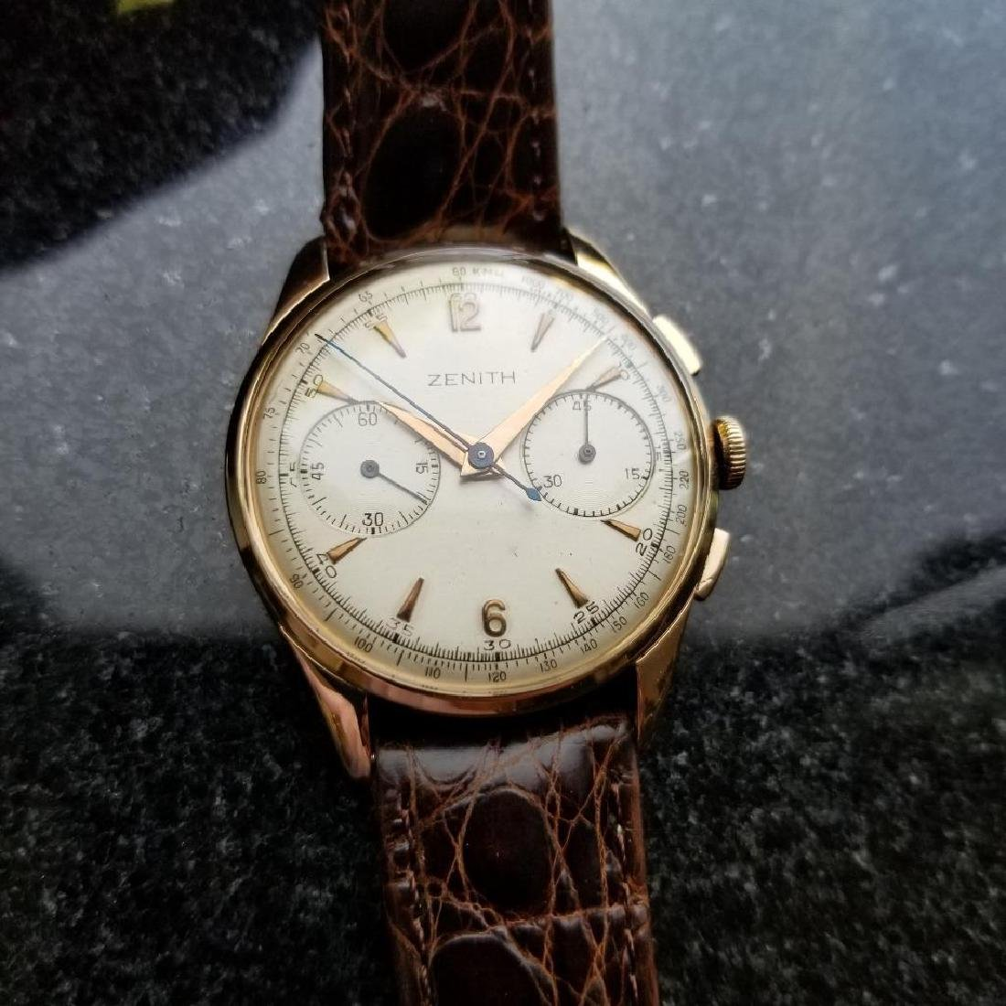 Zenith Vintage 18K Solid Rose Gold 1960s Swiss Watch - 2