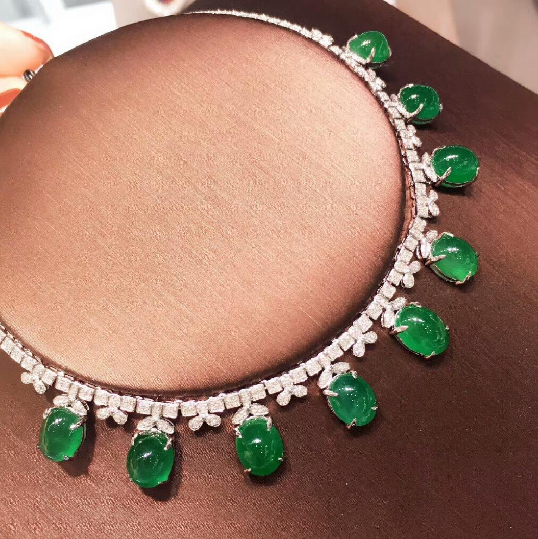 29.5ct Emerald Necklace in 18kt White Gold - 3
