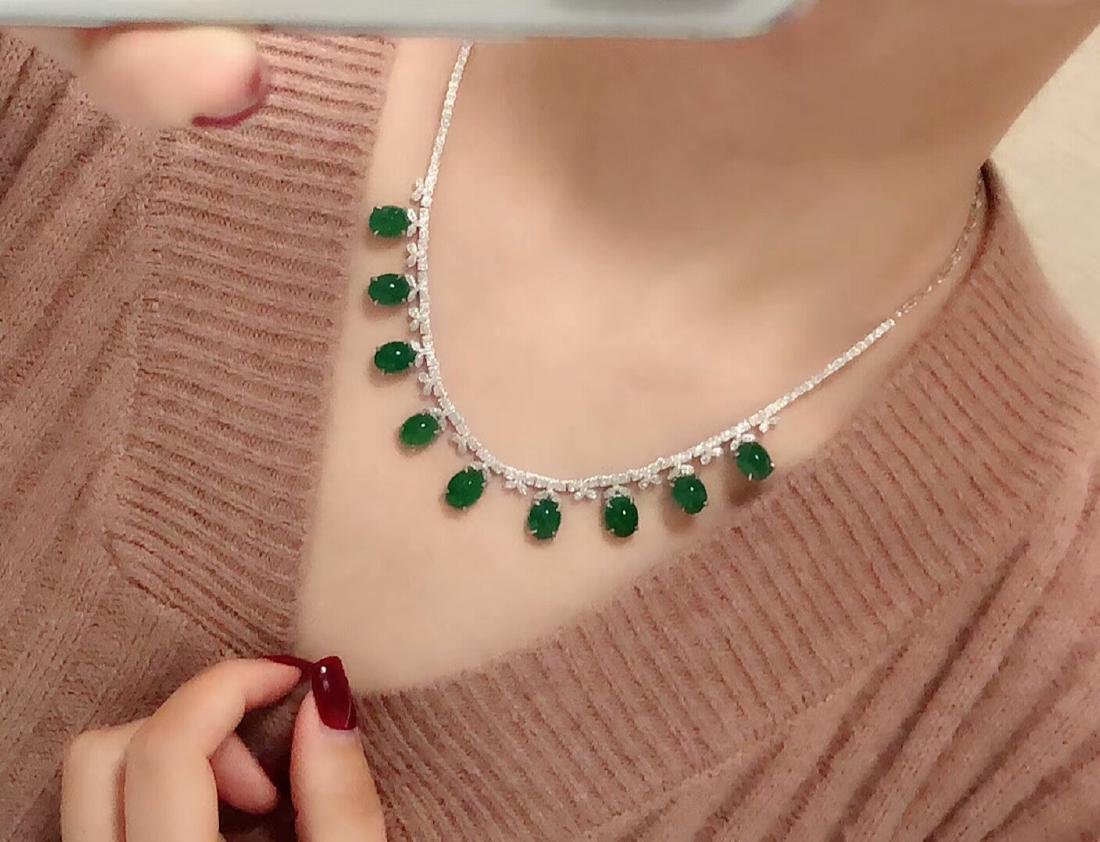 29.5ct Emerald Necklace in 18kt White Gold - 6