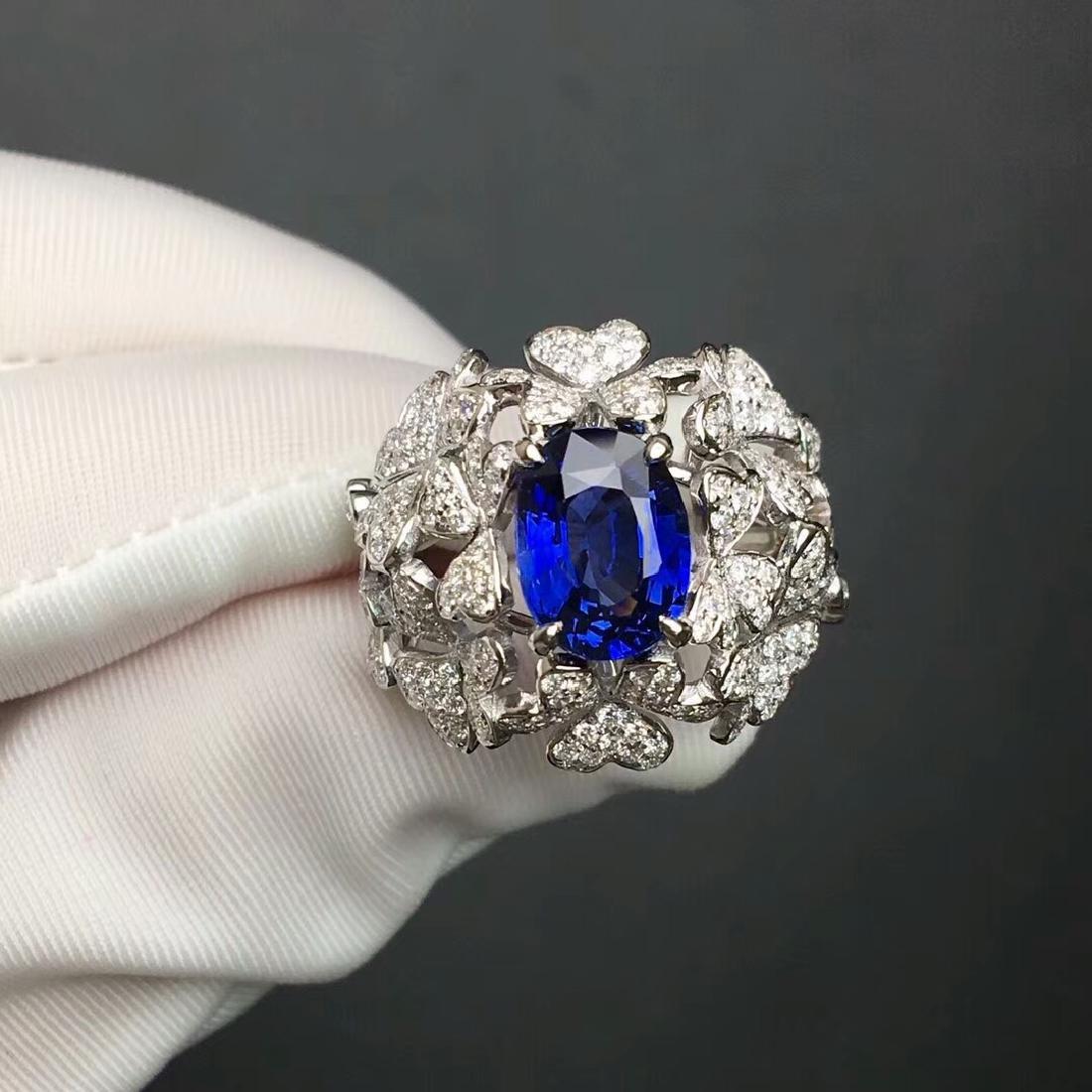 3.06 CTW Sapphire & VS Diamond Ring 18K - 2