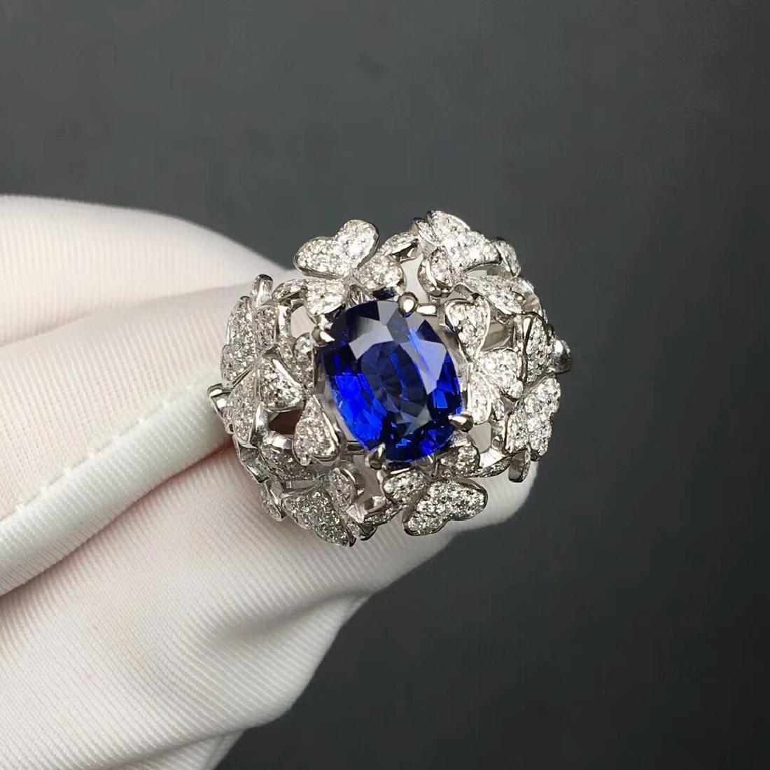 3.06 CTW Sapphire & VS Diamond Ring 18K - 3