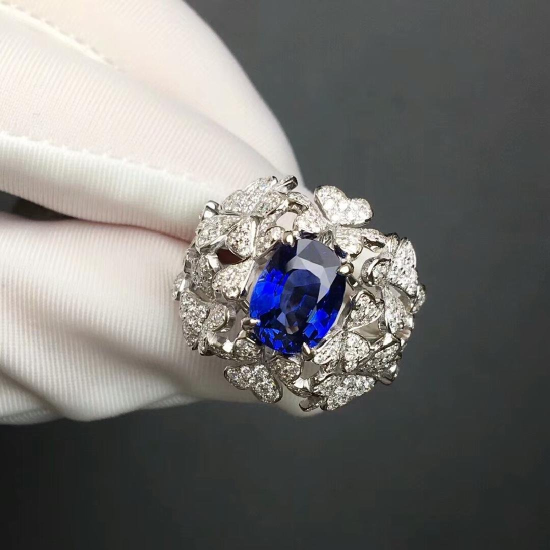 3.06 CTW Sapphire & VS Diamond Ring 18K - 5