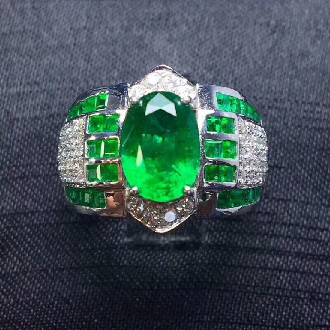 2.15 CTW Emerald & VS Diamond Ring 18K