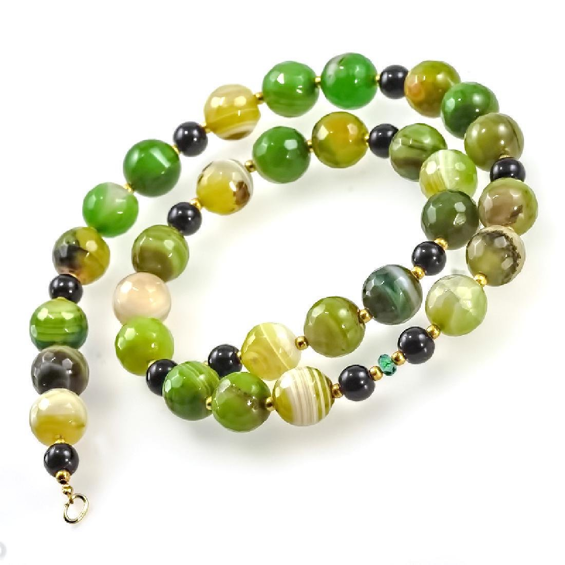 Green and Black Necklace with Emerald