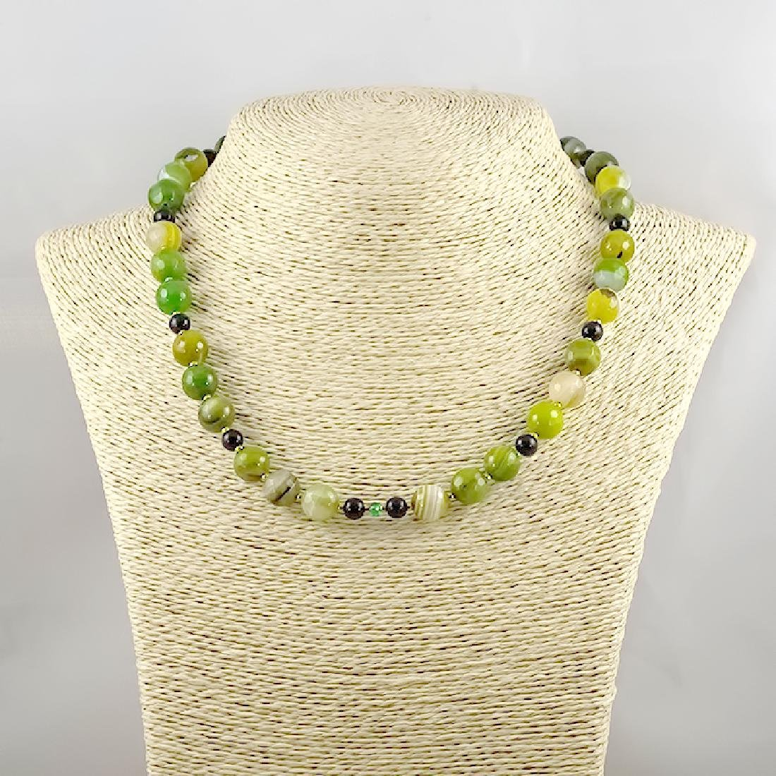 Green and Black Necklace with Emerald - 4