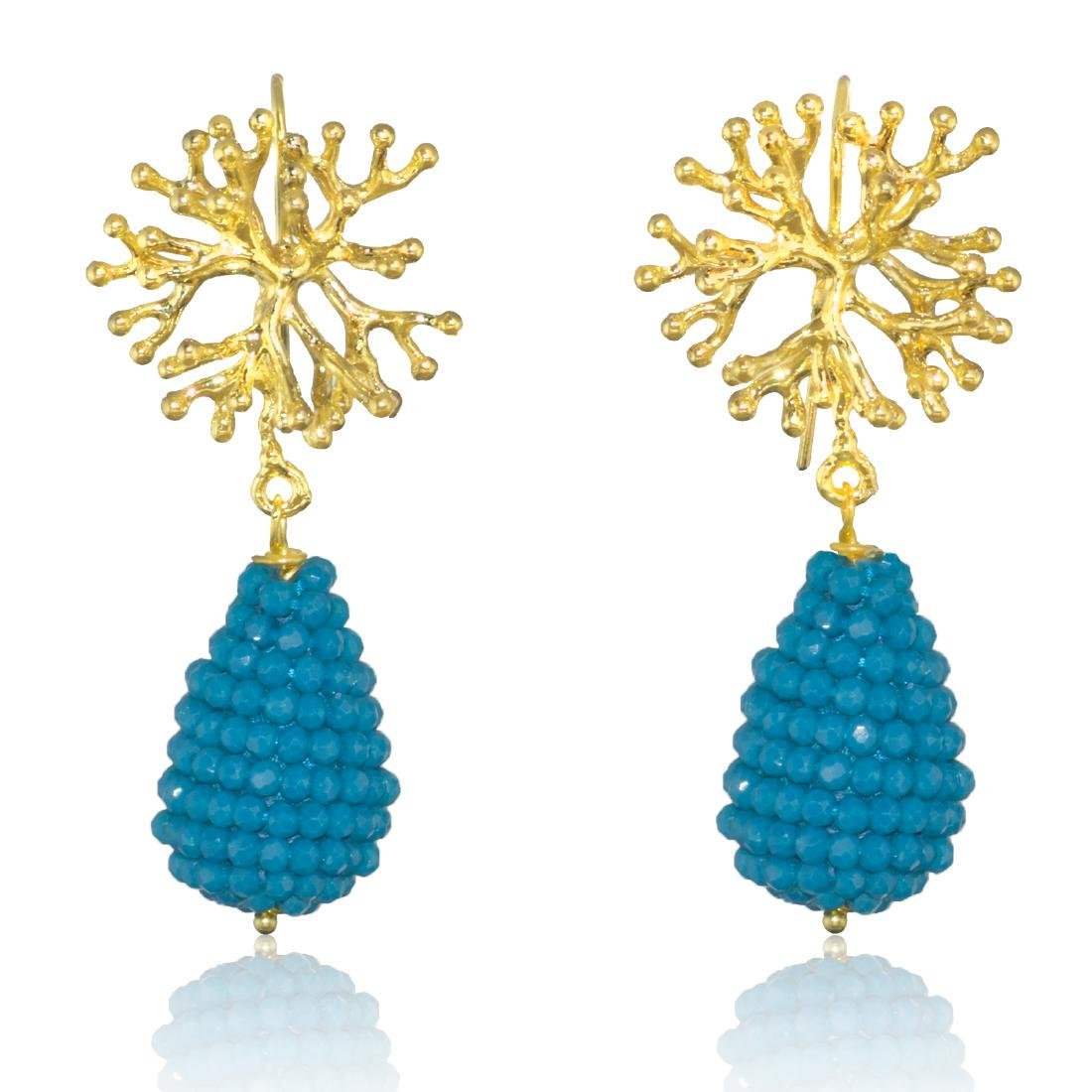 Blue Drop Coral Earrings