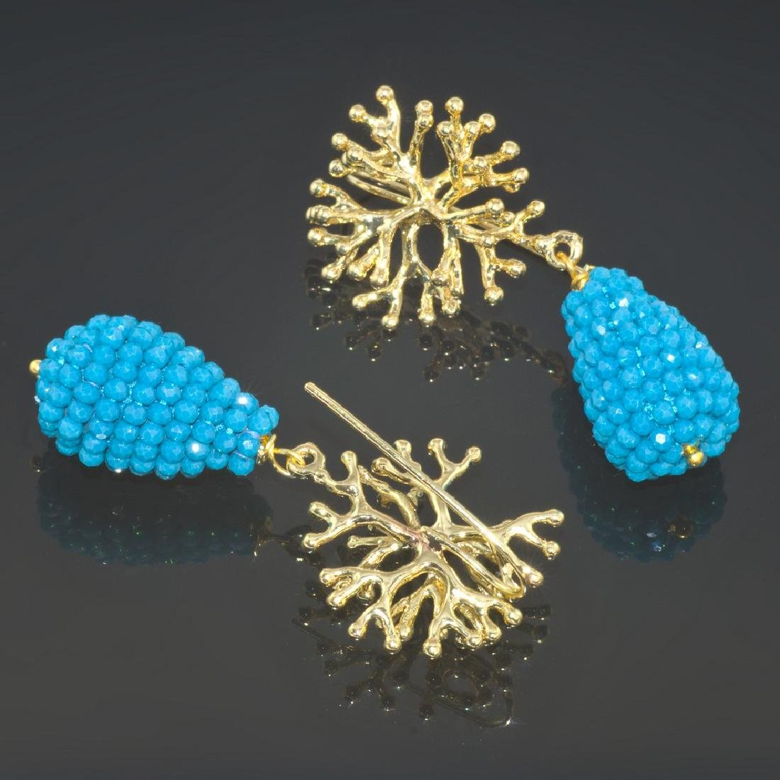 Blue Drop Coral Earrings - 3