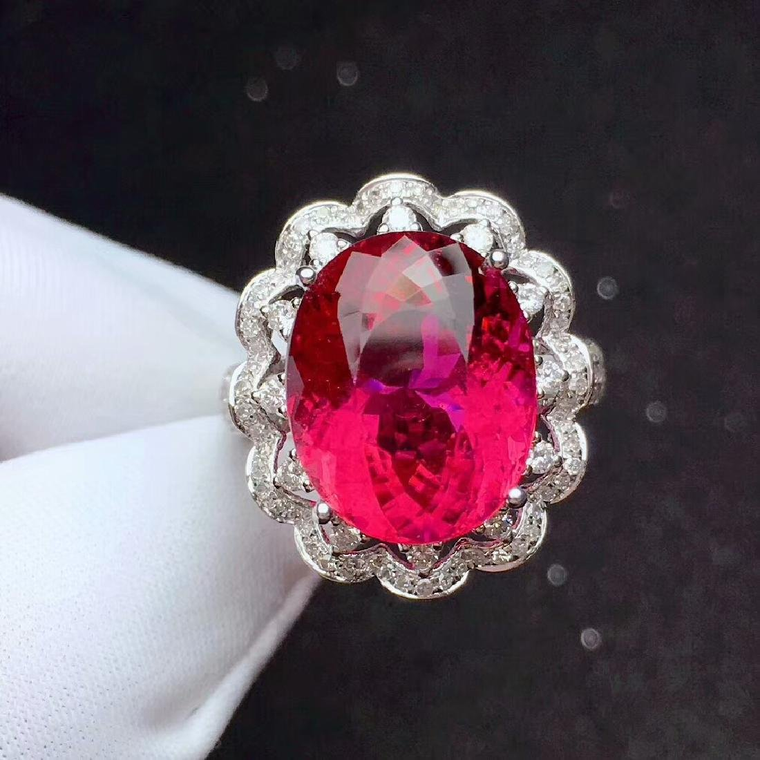 9.8ct Tourmaline Ring in 18kt White Gold