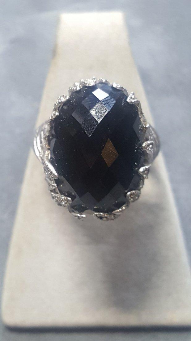 Onyx/Sapphire Filigree Ring