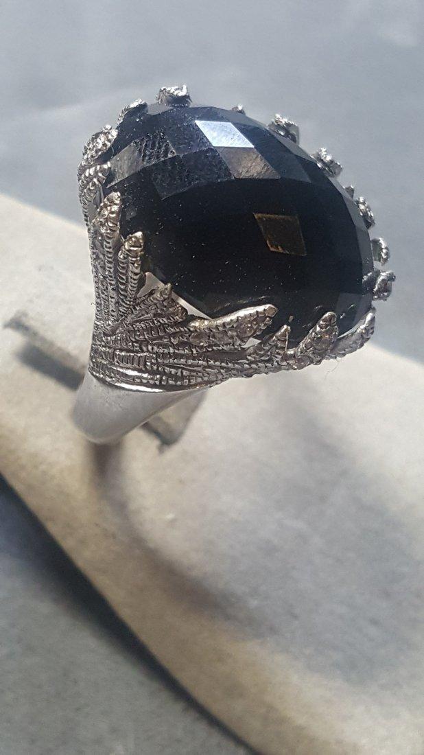 Onyx/Sapphire Filigree Ring - 2