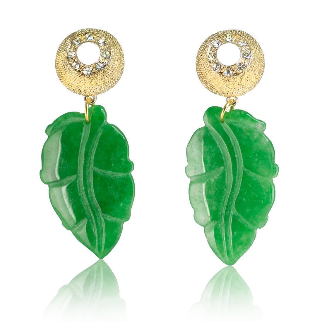 Sparkling Green Jade Leaf Earrings