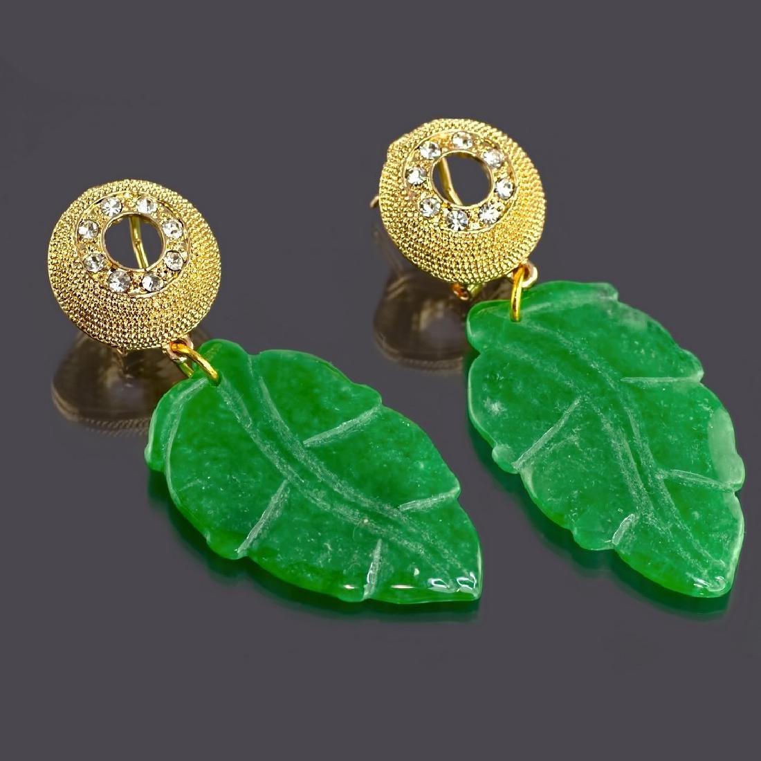 Sparkling Green Jade Leaf Earrings - 2