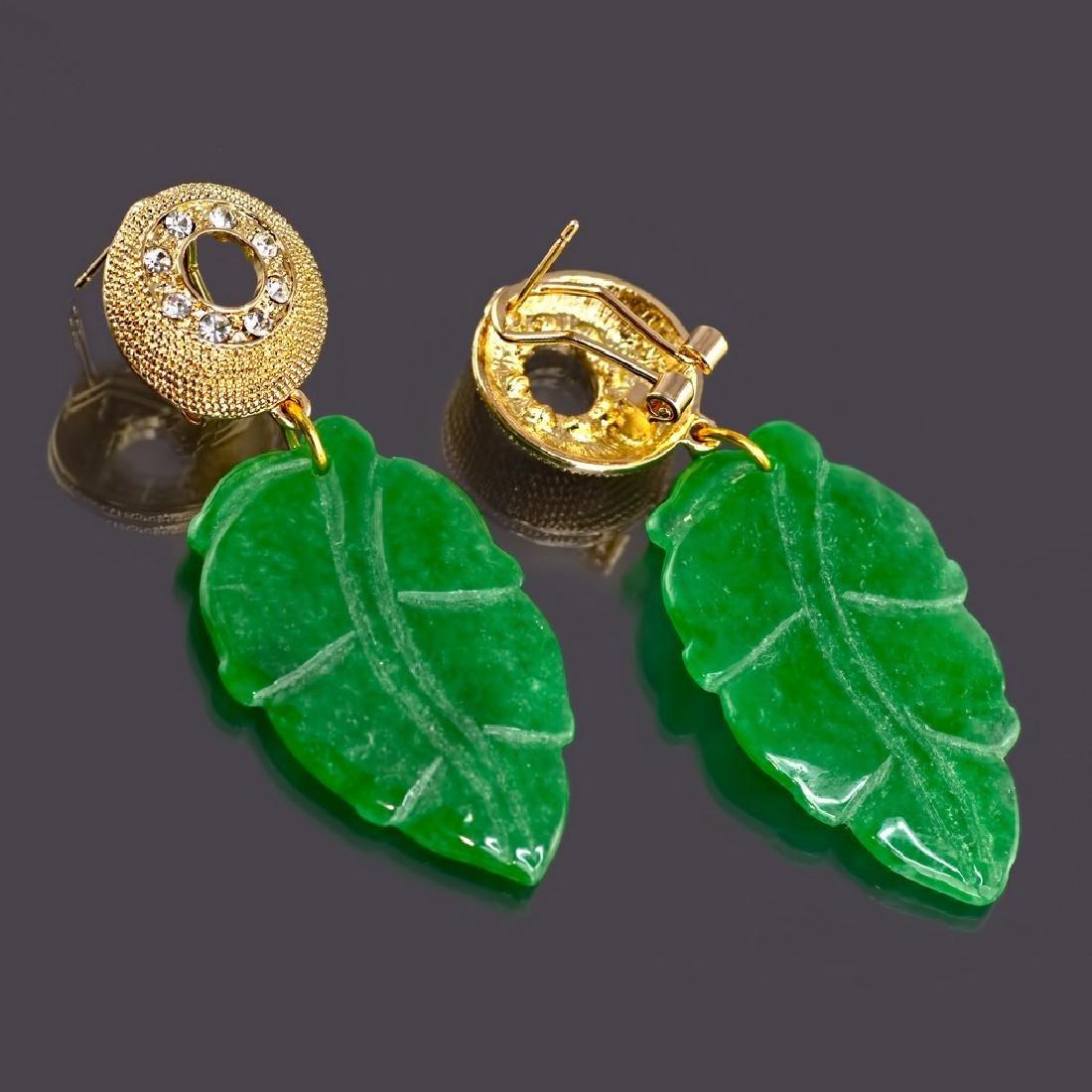 Sparkling Green Jade Leaf Earrings - 3