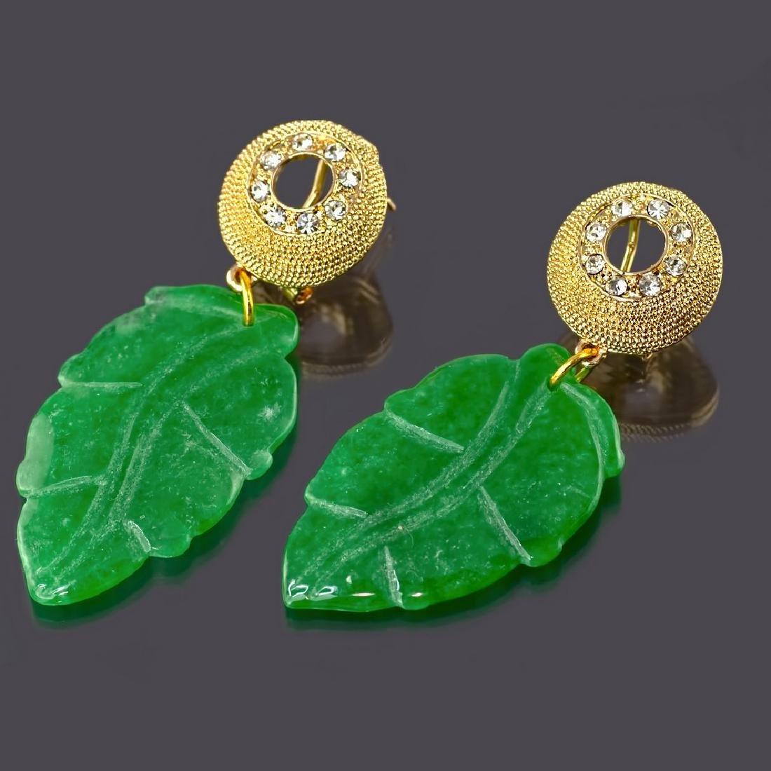 Sparkling Green Jade Leaf Earrings - 4