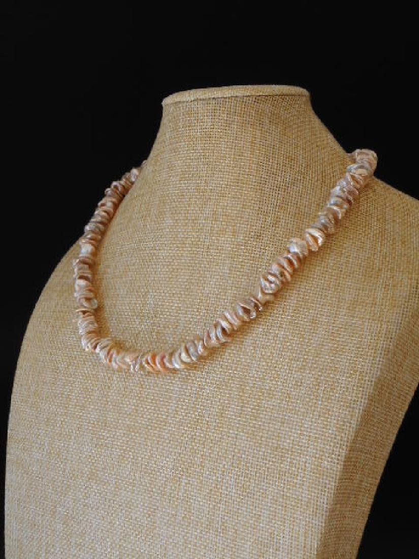 Pearl necklace of pink baroque cultivated Keshi - 8