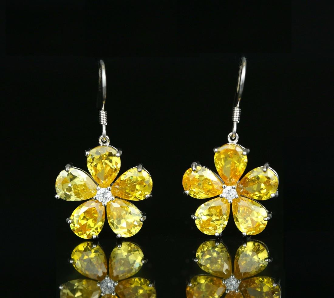925 silver earring with yellow zircon