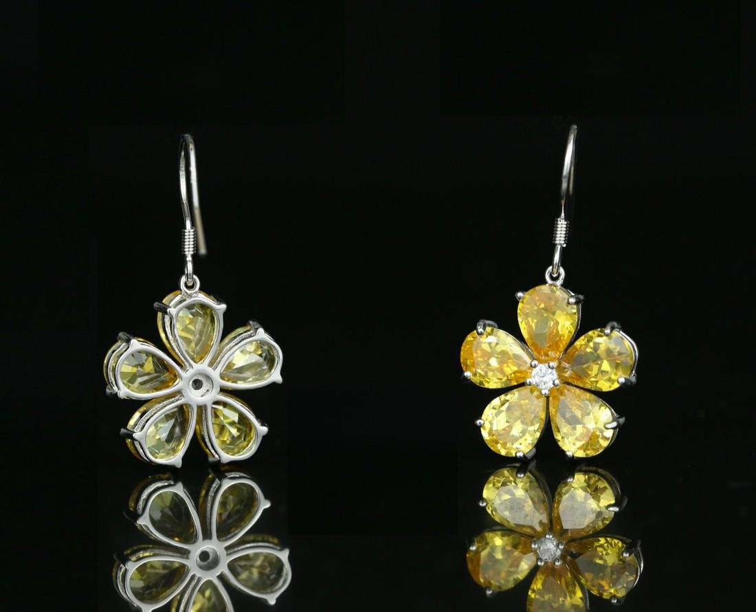 925 silver earring with yellow zircon - 2