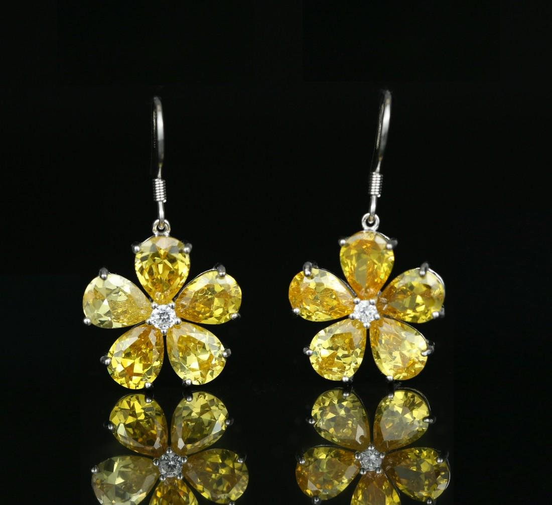 925 silver earring with yellow zircon - 3