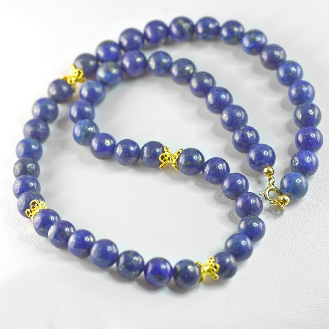 Lapis lazuli Necklace with Golden Accents - 2