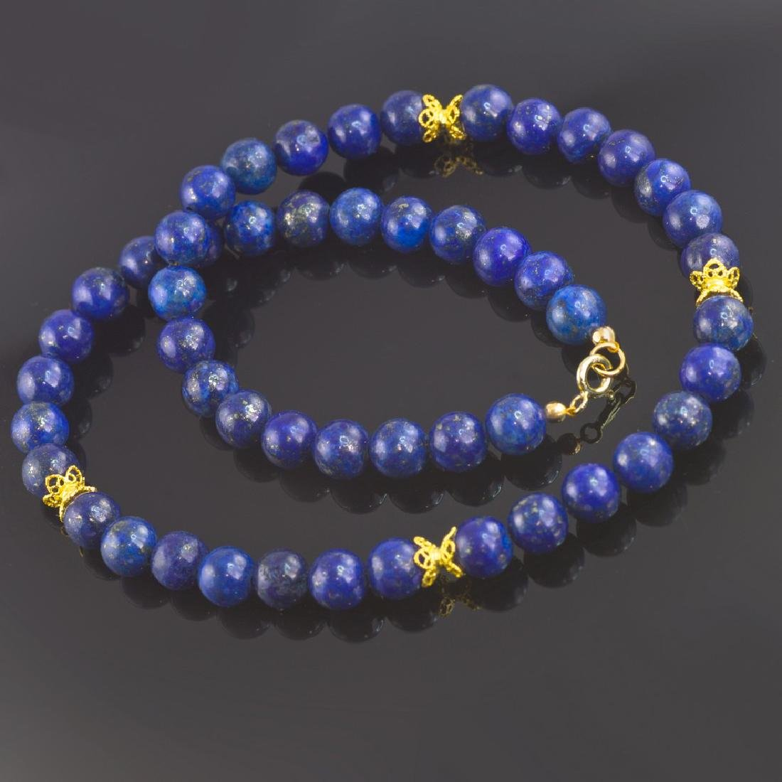 Lapis lazuli Necklace with Golden Accents - 3