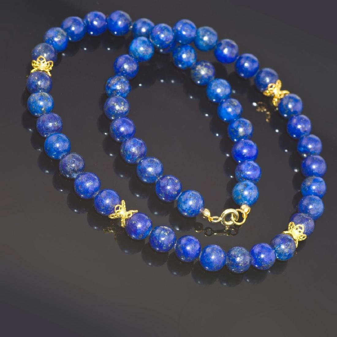 Lapis lazuli Necklace with Golden Accents - 4