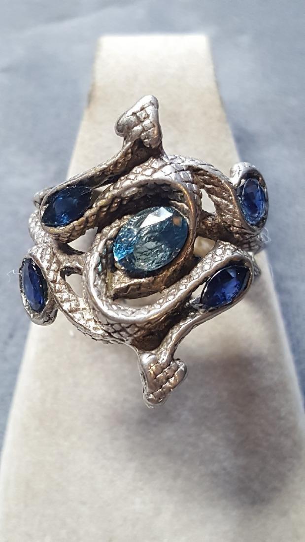 Topaz & Sapphire Serpent Pewter Ring
