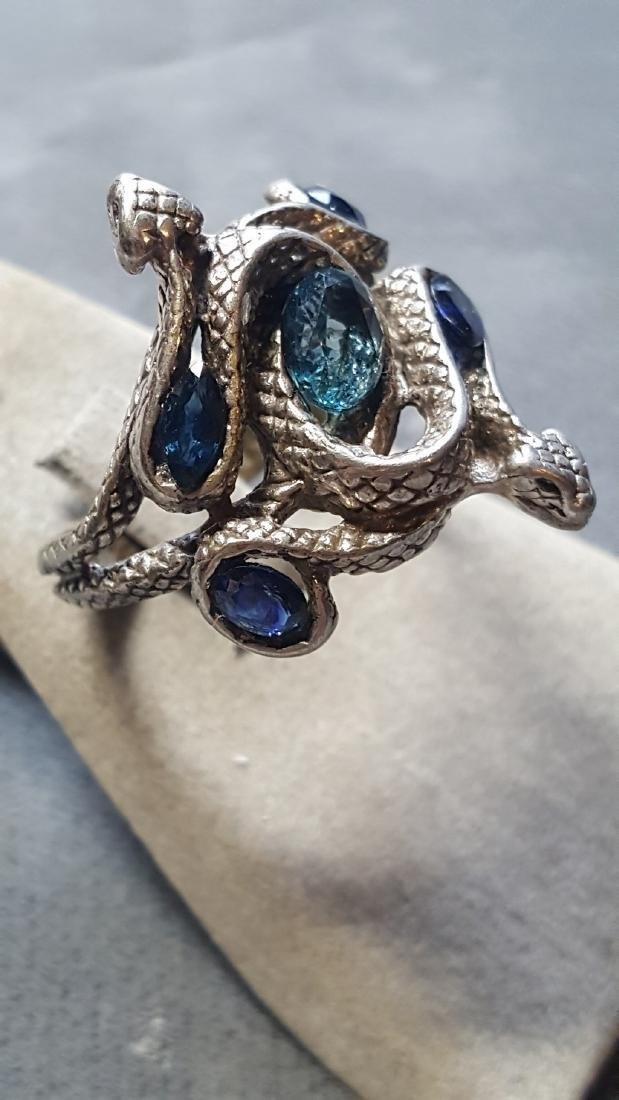 Topaz & Sapphire Serpent Pewter Ring - 2