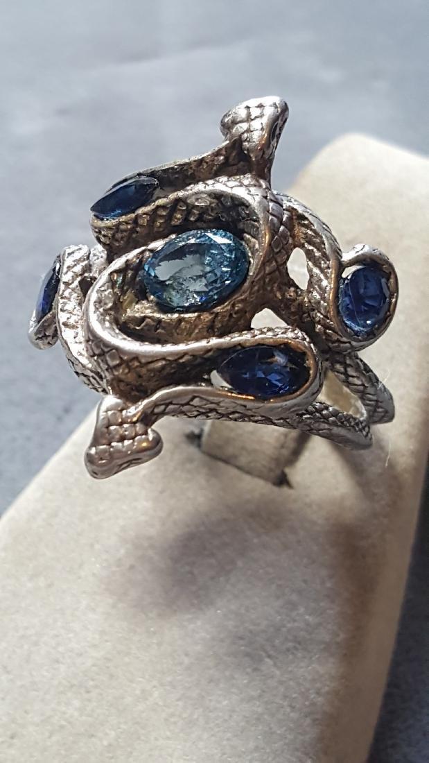 Topaz & Sapphire Serpent Pewter Ring - 3