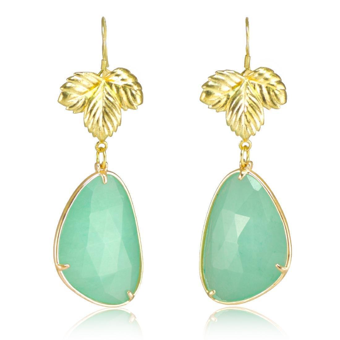 Aqua Jade Leaf Earrings